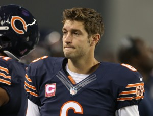 Oct 1, 2012; Arlington, TX, USA; Chicago Bears quarterback Jay Cutler (6) on the sidelines during the game against the Dallas Cowboys at Dallas Cowboys Stadium. Mandatory Credit: Matthew Emmons-US PRESSWIRE