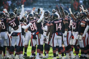 CHICAGO, IL - NOVEMBER 22: The Chicago Bears huddle up prior to the NFL game against the Denver Broncos at Soldier Field on November 22, 2015 in Chicago, Illinois. (Photo by Jonathan Daniel/Getty Images)